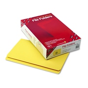 Smead® Legal Recycled Straight Cut Reinforced Top Tab Folder w/ 3/4 Expansion, Yellow, 100/Pack