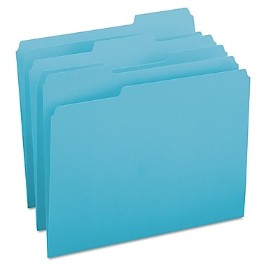 Smead® Letter 1/3 Cut Recycled File Folder w/ 3/4in. Expansion, Teal, 100/Pack