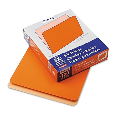 Esselte® Letter Straight Cut File Folder, Orange, 100/Pack