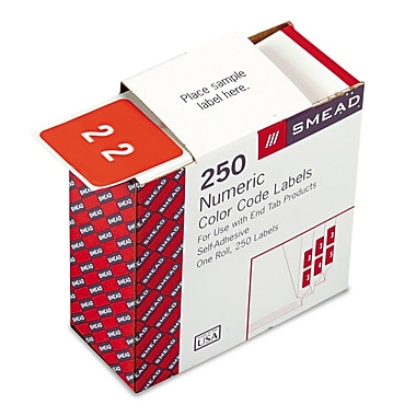Smead® DCC Color-Coded Numeric Label, 2, Label Roll, Pink, 250 labels per Roll (67422)