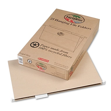 Esselte® Legal 1/5 Cut Recycled Hanging Folder, Natural, 25/Pack