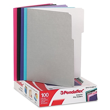 Esselte® Pendaflex® Letter Recycled 1/3 Cut File Folder w/ 3/4in. Expansion, Assorted, 100/Pack