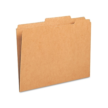 Smead® Letter 2/5 Cut Recycled Recycled File Folder w/ 3/4in. Expansion, Kraft, Brown, 100/Pack