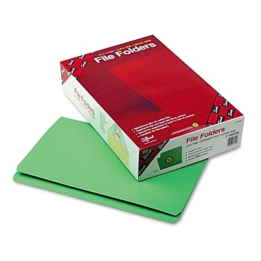 Smead® Legal Straight Cut Reinforced Top Tab Folder w/ 3/4in. Expansion, Green, 100/Pack