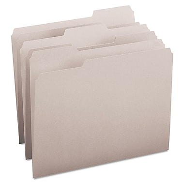 Smead® Letter 1/3 Cut Recycled Two Ply File Folder w/ 3/4in. Expansion, Gray, 100/Pack