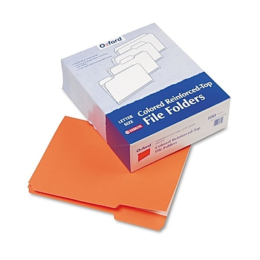 Esselte® Letter 1/3 Cut Recycled File Folder, Orange, 100/Pack
