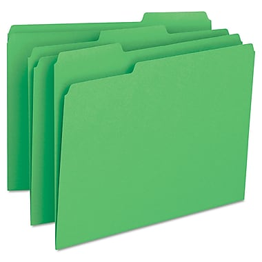 Smead® Letter 1/3 Cut Recycled File Folder w/ 3/4in. Expansion, Green, 100/Pack