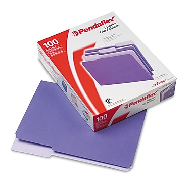 Esselte® Pendaflex® Letter Recycled 1/3 Cut Interior File Folder w/ 3/4in. Expansion, Violet, 100/Pack