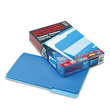 Esselte® Pendaflex® Legal Recycled 1/3 Cut Interior File Folder w/ 3/4in. Expansion, Blue, 100/Pack