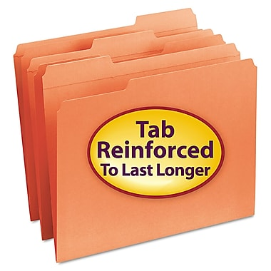 Smead® Letter 1/3 Cut Recycled Reinforced File Folder w/ 3/4in. Expansion, Orange, 100/Pack