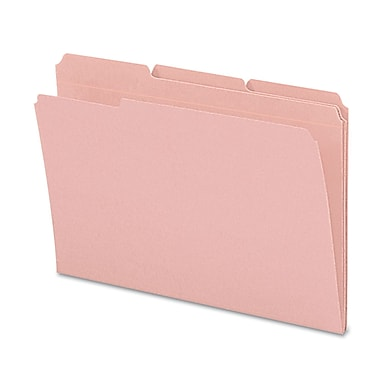 Smead® Legal Recycled 1/3 Cut Reinforced Top Tab Folder w/ 3/4in. Expansion, Pink, 100/Pack