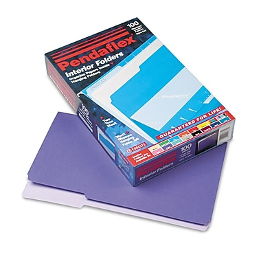 Pendaflex® Legal Recycled 1/3 Cut Interior File Folder w/ 3/4in. Expansion, Violet, 100/Pack