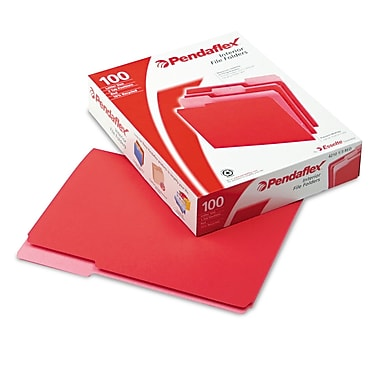 Esselte® Pendaflex® Letter Recycled 1/3 Cut Interior File Folder w/ 3/4in. Expansion, Red, 100/Pack