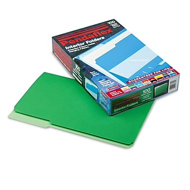 Pendaflex® Legal Recycled 1/3 Cut Interior File Folder w/ 3/4in. Expansion, Green, 100/Pack