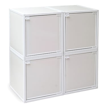 Way Basics Eco Friendly Stackable 4 Box Storage Cubes, White