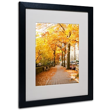 Trademark Fine Art Ariane Moshayedi 'Fall On The Street' Matted Art Black Frame 16x20 Inches