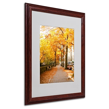 Ariane Moshayedi 'Fall On The Street' Matted Framed Art - 16x20 Inches - Wood Frame