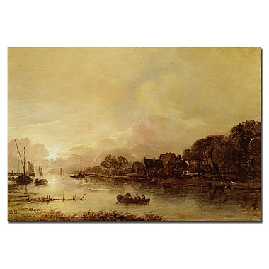 Trademark Fine Art Aert van der Neer 'River Landscape' Canvas Art 22x32 Inches