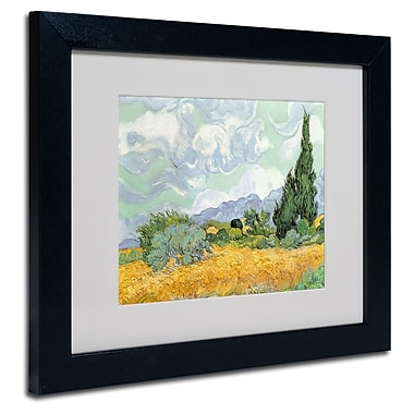 Trademark Fine Art Vincent van Gogh 'Wheatfield with Cypresses 1889' Matted Fr Black Frame 11x14 Inches