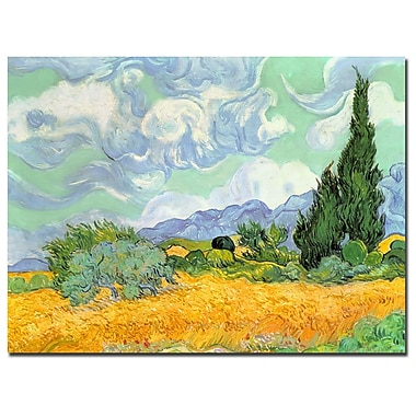 Trademark Fine Art Vincent van Gogh 'Wheatfield with Cypresses' Canvas Art 18x24 Inches