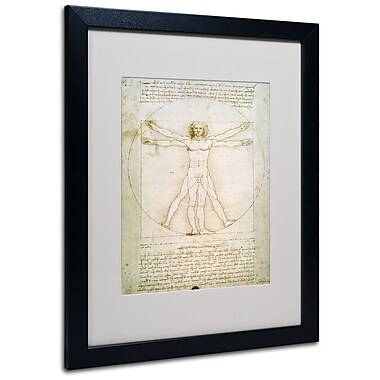 Trademark Fine Art Leonardo da Vinci 'The Proportions of the Human Figure' Matt Black Frame 16x20 Inches