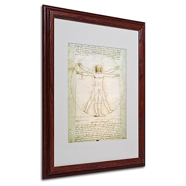 Leonardo da Vinci 'The Proportions of the Human Figure' Matt - 16x20 Inches - Wood Frame