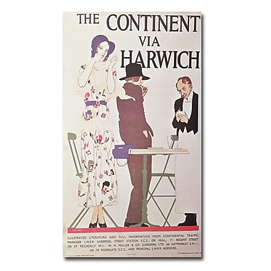Trademark Fine Art Reginald Higgins 'The Continent via Harwich' Canvas Art 14x24 Inches