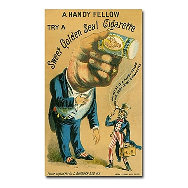 Trademark Fine Art Golden Seal Cigarettes 1890' Canvas Art 14x24 Inches