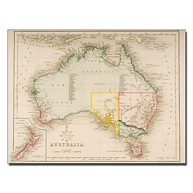Trademark Fine Art J. Archer 'Map of Australia and New Zealand' Canvas Art 35x47 Inches