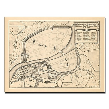 Trademark Fine Art Memhardt 'Map of Berlin and Coelln 1652' Canvas Art 14x19 Inches