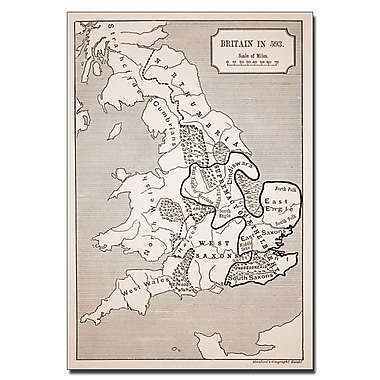Trademark Fine Art 'Map of Britain in 593' Canvas Art 14x19 Inches