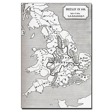 Trademark Fine Art 'Map of Britain in 640' Canvas Art 30x47 Inches
