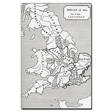 Trademark Fine Art 'Map of Britain in 665' Canvas Art 14x19 Inches
