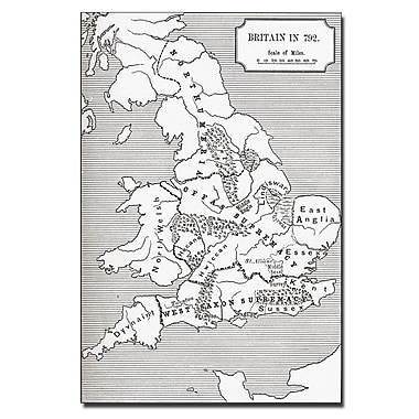 Trademark Fine Art 'Map of Britain in 792' Canvas Art 16x24 Inches