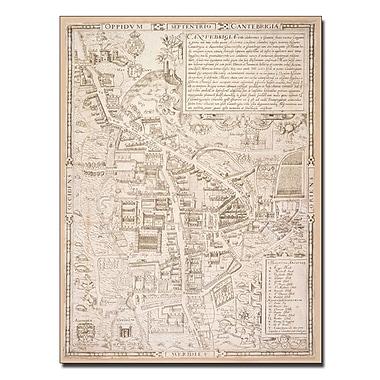 Trademark Fine Art Richard Lyne 'Map of Cambridge 1574' Canvas Art 14x19 Inches