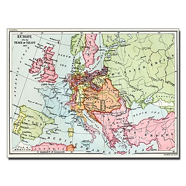Trademark Fine Art Map of Europe After the Peace of Tilsit 1807' Canvas Art 22x32 Inches