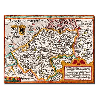 Trademark Fine Art Johannes Bussemacher 'Map of Flanders' Canvas Art 14x19 Inches