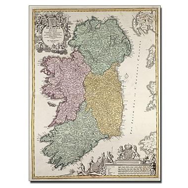 Trademark Fine Art Johann B. Homann 'Map of Ireland 1730' Canvas Art 14x19 Inches