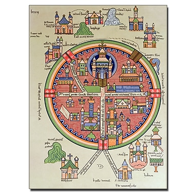Trademark Fine Art 'Map of Jerusalem and Palestine' Canvas Art 14x19 Inches