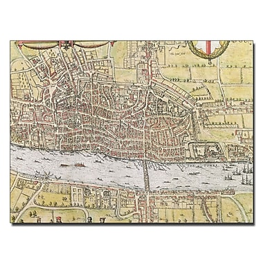 Trademark Fine Art Map of London 1572' Canvas Art 14x19 Inches