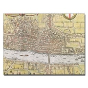 Trademark Fine Art Map of London 1572' Canvas Art 18x24 Inches