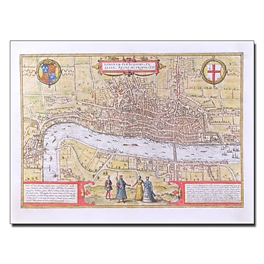 Trademark Fine Art 'Map of London c. 1572' Canvas 14x19 Inches