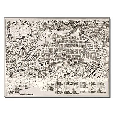 Trademark Fine Art Map of Naples 1600' Canvas Art 35x47 Inches