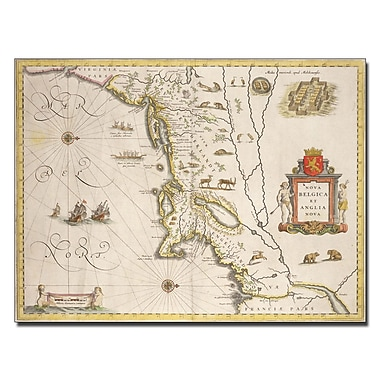 Trademark Fine Art Joan Blaeu 'Map of New Belgium and New England' Canvas Art 18x24 Inches