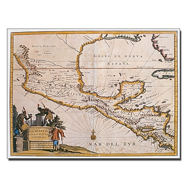 Trademark Fine Art Map of New Spain 1625' Canvas Art 14x19 Inches