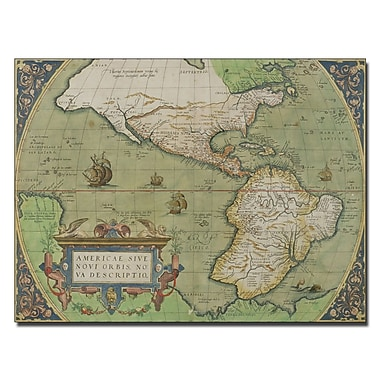 Trademark Fine Art Map of North and South America 1570' Canvas Art 14x19 Inches