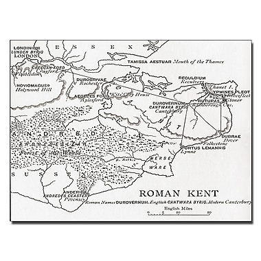 Trademark Fine Art Map of Roman Kent England' Canvas Art 14x19 Inches