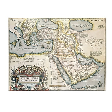 Trademark Fine Art Abraham Ortelius 'Map of the Middle East 1570' Canvas Art 14x19 Inches