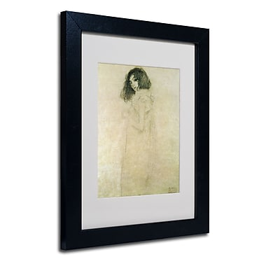 Trademark Fine Art Gustav Klimt 'Portrait of a Young Woman 1896-97' Matted Fra Black Frame 11x14 Inches