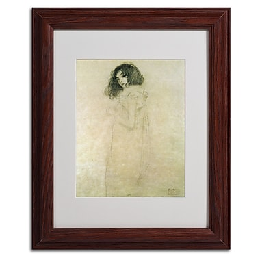 Gustav Klimt 'Portrait of a Young Woman 1896-97' Matted Fra - 11x14 Inches - Wood Frame